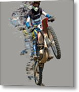 Motocross Rider With Flying Pieces Metal Print