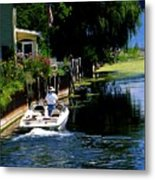 Motor Boat On Canal Metal Print