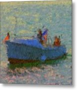 Motor Yacht At Spruce Point Boothbay Harbor Maine Metal Print