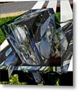 Motorcycle And Park Bench As Art Metal Print
