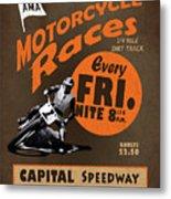 Motorcycle Speedway Races Metal Print