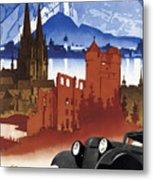 Motoring In Germany - Retro Travel Poster - Vintage Poster Metal Print