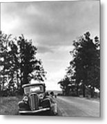 Motorist Parked By Roadside Metal Print