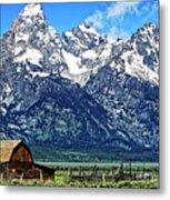Moulton Barn At Mormon Row Inside Grand Teton National Park Metal Print
