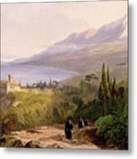 Mount Athos And The Monastery Of Stavroniketes Metal Print by Edward Lear