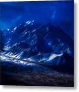 Mount Denali Moonlight Alaska Metal Print