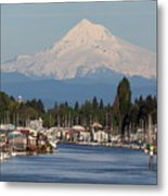Mount Hood And Columbia River House Boats Metal Print