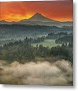 Mount Hood And Sandy River Valley Sunrise Metal Print