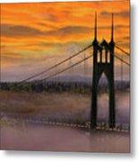 Mount Hood By St Johns Bridge During Sunrise Metal Print