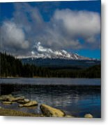 Mount Hood From Across Lake Trillium Metal Print