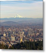 Mount Hood Over City Of Portland Oregon Metal Print