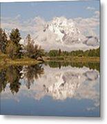 Mount Moran On Oxbow Bend Panorama Metal Print