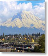 Mount Rainer Over Port Of Tacoma Metal Print