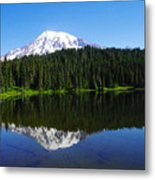 Mount Rainer Reflecting Into Reflection Lake Metal Print