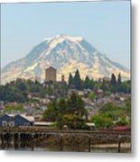 Mount Rainier At Tacoma Waterfront Metal Print