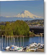 Mount Rainier From Thea Foss Waterway In Tacoma Metal Print