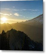 Mount Rainier Golden Dusk Light Metal Print