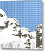 Mount Rushmore - Blue Metal Print