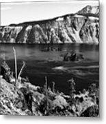 Mount Scott Behind Crater Lake B W Metal Print