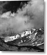 Mount Shasta In Black And White Metal Print