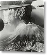 Mount Vesuvius Coughs Up Ash And Smoke Metal Print by Us Army Air Forces Official