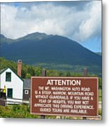 Mount Washington Nh Warning Sign Metal Print