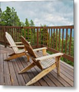 Mountain Adirondack Chairs Metal Print