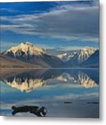 Mountain And Driftwood Reflections Metal Print