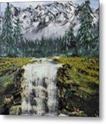 Mountain And Waterfall  Metal Print