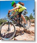 Mountain Biker On The Porcupine Rim Trail Near Moab Metal Print