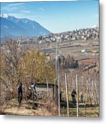 Mountain Bikers In Italian Alps Metal Print