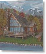 Mountain Cabin Metal Print