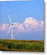 Mountain Clouds And Windmills Metal Print