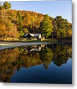 Mountain Lake Beach With Fall Color Reflections Metal Print