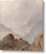 Mountain Landscape In Tirol With Chamois, Johannes Tavenraat, C. 1858 Metal Print