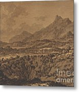 Mountain Landscape With A Hollow Metal Print
