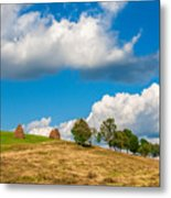Mountain Landscape With Haystacks And Trees On Top Of Hill Metal Print