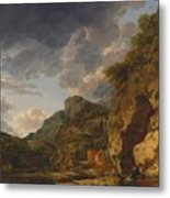 Mountain Landscape With River And Wagon Metal Print
