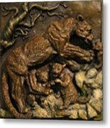 Mountain Lion Mother With Cubs Metal Print by Dawn Senior-Trask