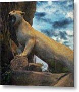 Mountain Lion - Paint Fx Metal Print