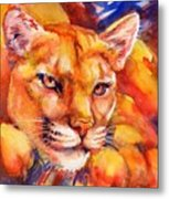 Mountain Lion Red-yellow-blue Metal Print