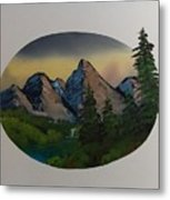 Mountain Oval Metal Print