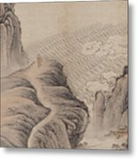 Mountain Path Landscape Ink Painting Metal Print