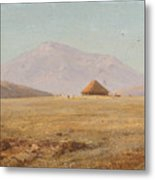 Mountain Plateau With Hut Metal Print