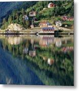 Mountain Reflected In Lake Metal Print