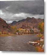 Mountain River Bridge Metal Print