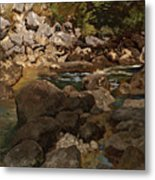 Mountain Stream With Boulders Metal Print