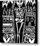 Mountain Town Skeleton Metal Print