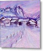 Mountain Village In Snow Metal Print