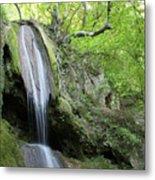 Mountain Waterfall Spring Nature Scene Metal Print